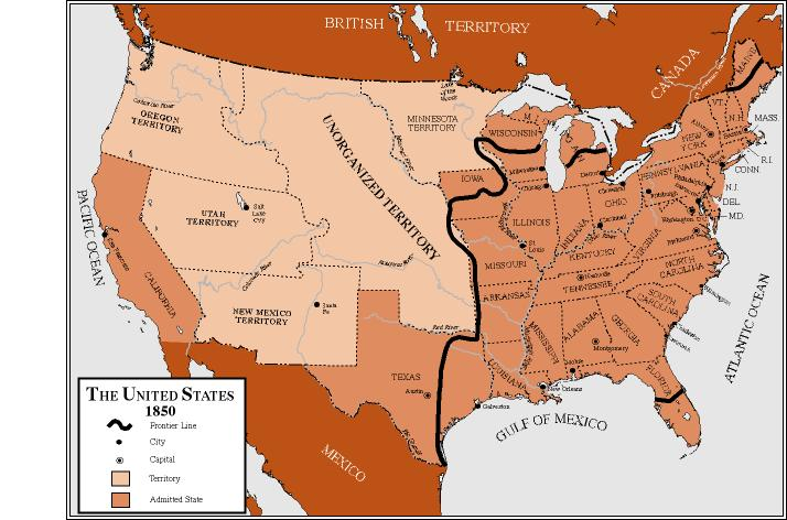 The USGenWeb Census Project Us Territory - 1850 map of us