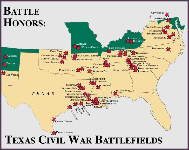 Texas Civil War Battlefields - Map of tex