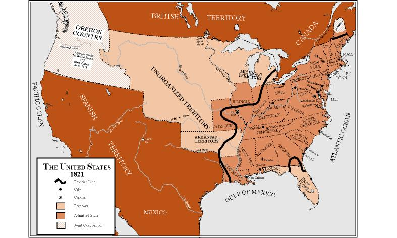 The United States in 1821 – Map of Mexico 1821