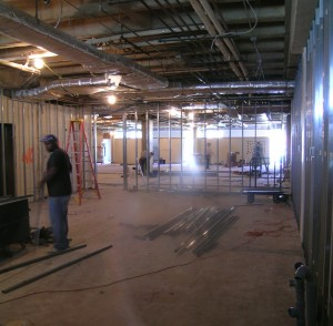 framing starts in the new freshman biology lab